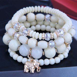 3/$20 New Cream & Gold Beaded Bracelet Set